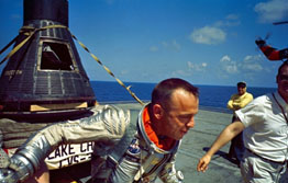 Alan Shepard back from first trip into orbit