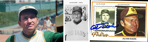 Alvin Dark in managers uniform for the the A's, Indians and Padres