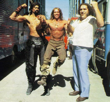 Andre the Giant with Wilt Chamberlain and Arnold Schwarzenegger