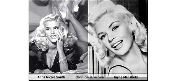 Anna Nicole Smith photo comparison with Jayne Mansfield