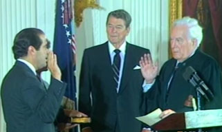 Antonin Scalia getting sworn in to the US Supreme Court