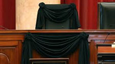 Antonin Scalia seat on Supreme Court draped in black after his death