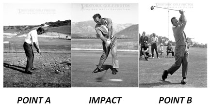 Arnold Palmer showing how he swings his club