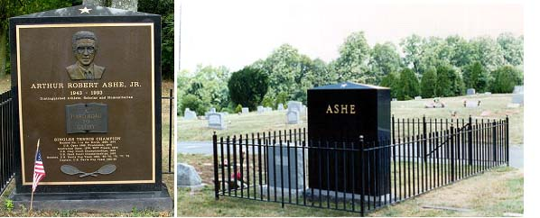Arthur Ashe buried next to his mother in Woodland Cemetery in Richmond