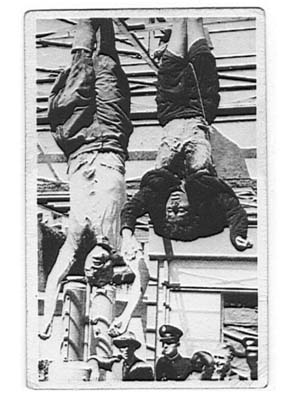 Clara Petacci and Benito Mussolini being hung