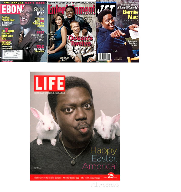 Bernie Mac on cover of various magazines
