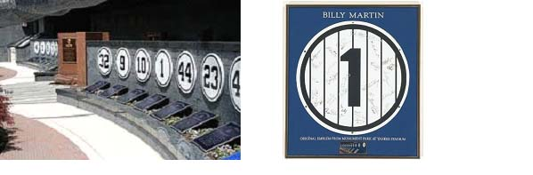Billy Martin's retired number at Monument Park