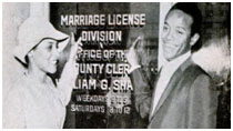 Bobby Womack and Barbara Campbell getting their marriage license