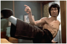 Bruce Lee in a martial arts film