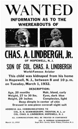 Charles Lindbergh Missing poster