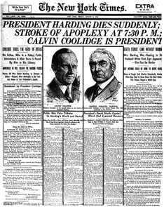 President Harding death reported in the newspaper