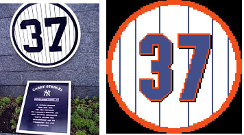 Casey Stengel retired number for mets and yankees