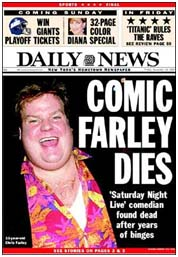 Report of Chris Farley's death on cover of New York Daily News