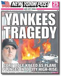 New York Post front page reporting Cory Lidle's death