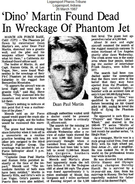 newspaper report of Dean Paul Martin plane crash