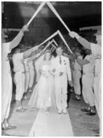Don Zimmer getting married on a baseball field