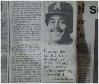 newspaper article quoting Donnie Moore about the game winning home run he gave up