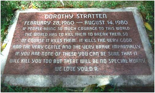 Dorothy Stratten buried in Westwood Village Memorial Park Cemetery in Los Angeles