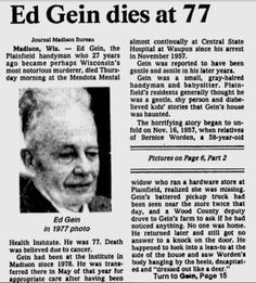 newspaper report of ed gein's death