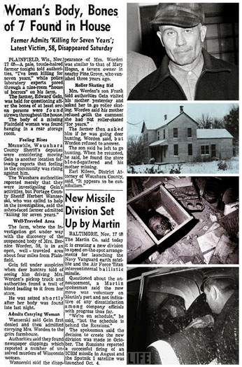 newspaper report of dead body found on ed gein's property