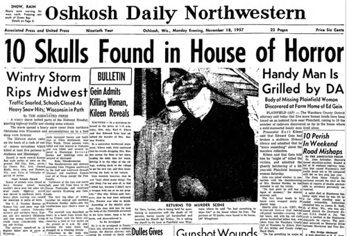 newspaper report of human remains found on  ed gein's property