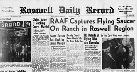 Roswell newspaper report of UFO sighting