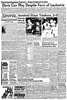 newspaper report of Ernie Davis' illness