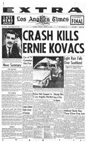 Ernie Kovacs newspaper report of his death