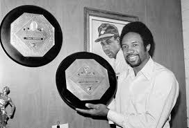 Frank Robinson with his MVP awards