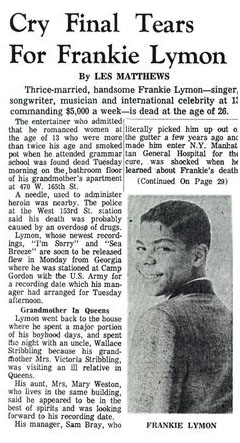 newspaper report of Frankie Lymon's death