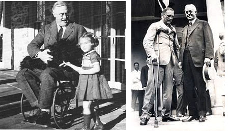 Franklin D. Roosevelt in a wheel chair and crutches