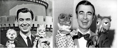 Fred Rogers working with puppets on TV