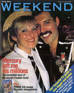Weekend magazine featuring Freddie Mercury and Mary Austin