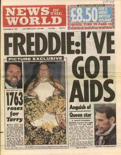 newspaper report Freddie Mercury has AIDS