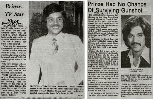 newspaper report of Freddie Prinze Sr. being shot