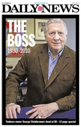 George Steinbrenner death on the cover of ny daily news
