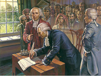 George Washington signing the Declaration Of Independence