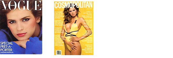 Gia Carangi on the cover of Vogue and Cosmopolitan
