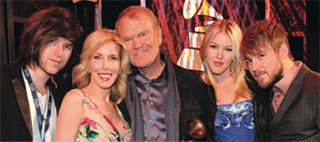 Glen Campbell with 4 of his kids