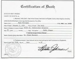 Hank Williams death certificate