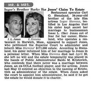 Inger Stevens newspaper article about her death