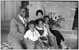 Jackie Robinson with wife and their 3 kids