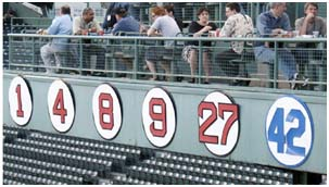 Number 42 retired up on the wall at Fenway Park