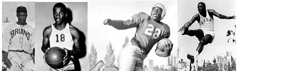 Jackie Robinson in UCLA uniform for baseball, basketball, football, and track