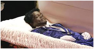 James Brown dead in a casket