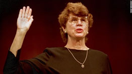 Janet Reno being swarn in