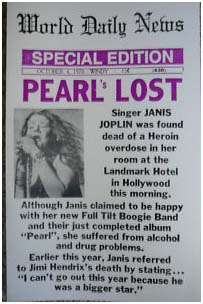 Newspaper report of Janis Joplin's death