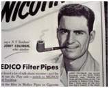 Jerry Coleman in a 1951 advertisement for smoking Pipes