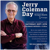 Jerry Coleman day advertisement