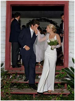 John F. Kennedy, Jr on wedding day with Carolyn Bessette